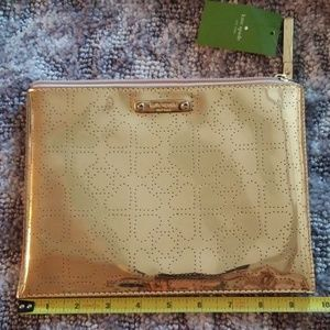 KATE SPADE GOLD FOIL MAKE UP POUCH BAG NWT